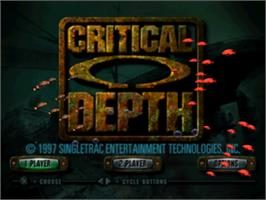 Title screen of Critical Depth on the Sony Playstation.