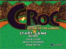 Title screen of Croc: Legend of the Gobbos on the Sony Playstation.