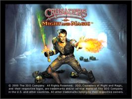 Title screen of Crusaders of Might and Magic on the Sony Playstation.
