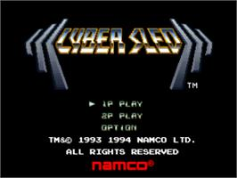 Title screen of Cyber Sled on the Sony Playstation.