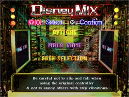 Title screen of Dance Dance Revolution: Disney Mix on the Sony Playstation.
