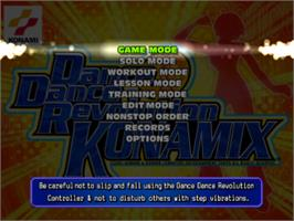 Title screen of Dance Dance Revolution: Konamix on the Sony Playstation.