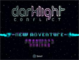 Title screen of Darklight Conflict on the Sony Playstation.