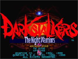 Title screen of Darkstalkers: The Night Warriors on the Sony Playstation.