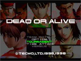 Title screen of Dead or Alive on the Sony Playstation.