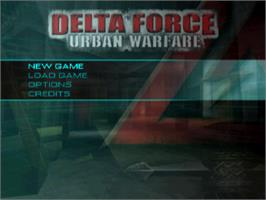Title screen of Delta Force: Urban Warfare on the Sony Playstation.