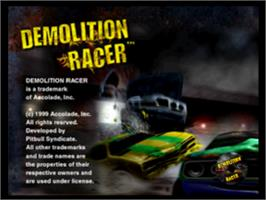Title screen of Demolition Racer on the Sony Playstation.