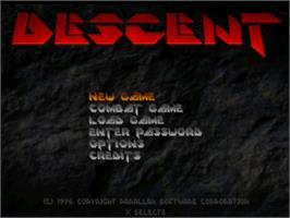 Title screen of Descent on the Sony Playstation.
