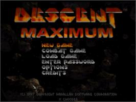 Title screen of Descent Maximum on the Sony Playstation.