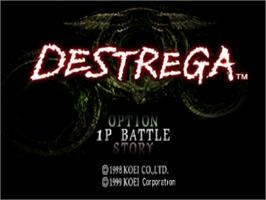 Title screen of Destrega on the Sony Playstation.