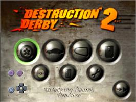 Title screen of Destruction Derby 2 on the Sony Playstation.