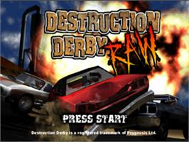Title screen of Destruction Derby Raw on the Sony Playstation.
