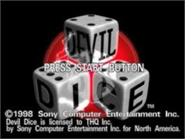 Title screen of Devil Dice on the Sony Playstation.
