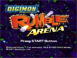 Title screen of Digimon Rumble Arena on the Sony Playstation.