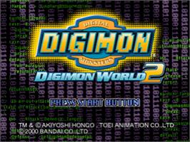 Title screen of Digimon World 2 on the Sony Playstation.