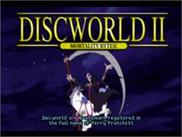 Title screen of Discworld II: Mortality Bytes! on the Sony Playstation.