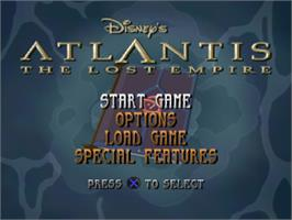 Title screen of Disney's Atlantis: The Lost Empire on the Sony Playstation.