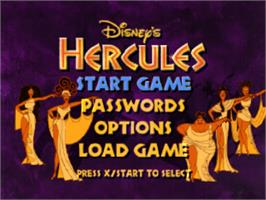 Title screen of Disney's Hercules on the Sony Playstation.