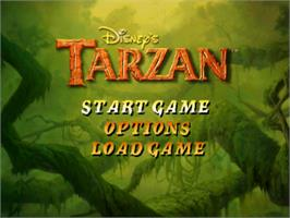 Title screen of Disney's Tarzan on the Sony Playstation.