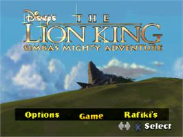 Title screen of Disney's the Lion King: Simba's Mighty Adventure on the Sony Playstation.