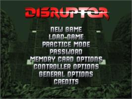 Title screen of Disruptor on the Sony Playstation.