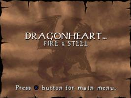 Title screen of DragonHeart: Fire & Steel on the Sony Playstation.