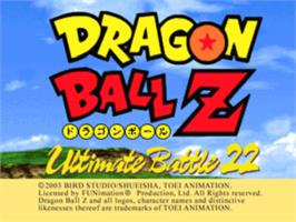 Title screen of Dragon Ball Z: Ultimate Battle 22 on the Sony Playstation.