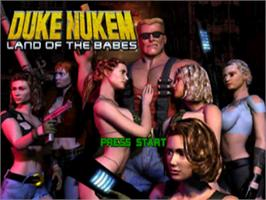 Title screen of Duke Nukem: Land of the Babes on the Sony Playstation.