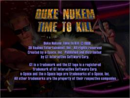 Title screen of Duke Nukem: Time to Kill on the Sony Playstation.