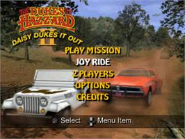 Title screen of Dukes of Hazzard II: Daisy Dukes It Out on the Sony Playstation.