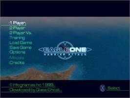 Title screen of Eagle One: Harrier Attack on the Sony Playstation.