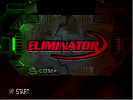 Title screen of Eliminator on the Sony Playstation.