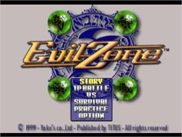 Title screen of Evil Zone on the Sony Playstation.