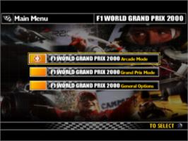 Title screen of F1 World Grand Prix 2000 on the Sony Playstation.