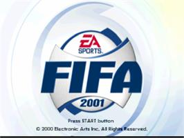 Title screen of FIFA 2001 on the Sony Playstation.