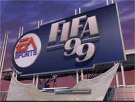Title screen of FIFA 99 on the Sony Playstation.