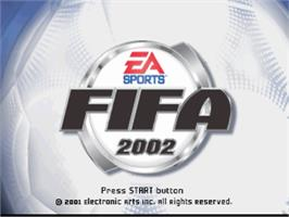 Title screen of FIFA Soccer 2002 on the Sony Playstation.