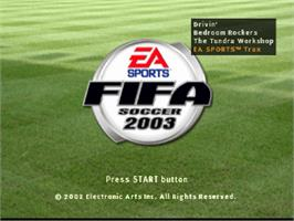 Title screen of FIFA Soccer 2003 on the Sony Playstation.