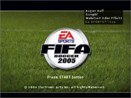 Title screen of FIFA Soccer 2005 on the Sony Playstation.