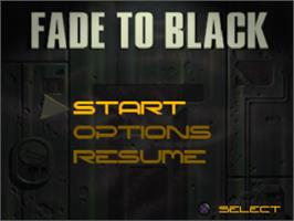 Title screen of Fade to Black on the Sony Playstation.