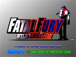 Title screen of Fatal Fury: Wild Ambition on the Sony Playstation.