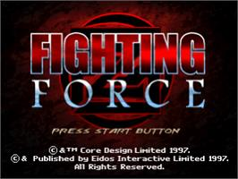 Title screen of Fighting Force on the Sony Playstation.