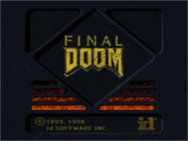 Title screen of Final DOOM on the Sony Playstation.