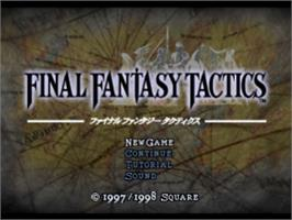 Title screen of Final Fantasy Tactics on the Sony Playstation.