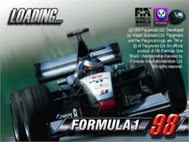 Title screen of Formula 1 '98 on the Sony Playstation.