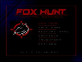Title screen of Fox Hunt on the Sony Playstation.
