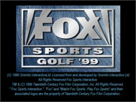 Title screen of Fox Sports Golf '99 on the Sony Playstation.