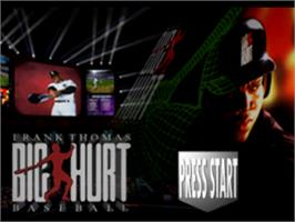 Title screen of Frank Thomas Big Hurt Baseball on the Sony Playstation.