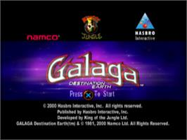 Title screen of Galaga: Destination Earth on the Sony Playstation.