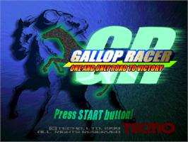 Title screen of Gallop Racer on the Sony Playstation.